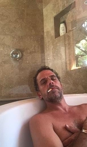 A serious of compromising pictures of Democratic candidate Joe Biden's son Hunter, 50, (above) have been released just weeks ahead of the US election on November 3