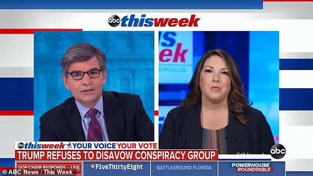 'You know, I knew you were going to ask me that question. I knew it, because it's something the voters are not even thinking about,' McDaniel said when asked by ABC News 'This Week' host George Stephenopoulos about the conspiracy. 'It's a fringe group, it's not part of our party'