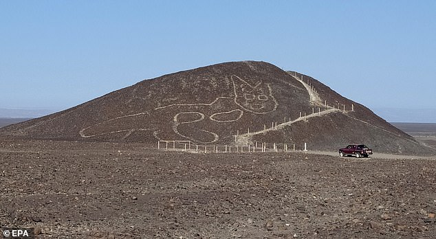 The figure of a giant cat has been discovered by archaeologists etched into the hillside of the Nazca Desert in Peru where hundreds of other Nazca Lines geoglyphs can be found in the sand