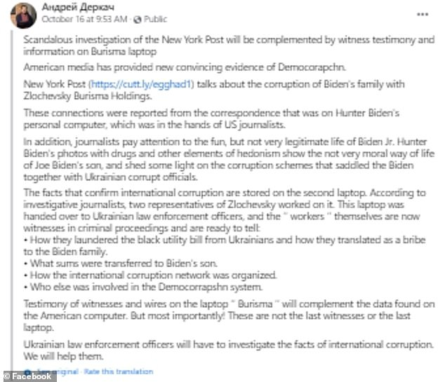 Derkach posted to Facebook on Friday to say there is a 'second laptop' involving evidence of corruption and connected to the Bidens, The Daily Beast reports