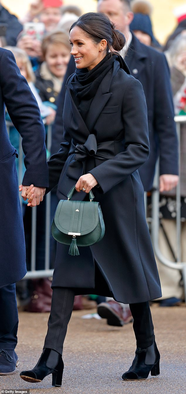 HELPING HAND FOR BETTER HEALTHCARE: Visiting Cardiff in January 2018, Meghan carried a £295 DeMellier Mini Venice handbag. The brand works with charities in Somalia and Zambia and promises that for each bag purchased, money will go to fund vaccines and treatments. DeMellier saw a 2,000 per cent spike in traffic after Meghan was first spotted carrying one of its bags.