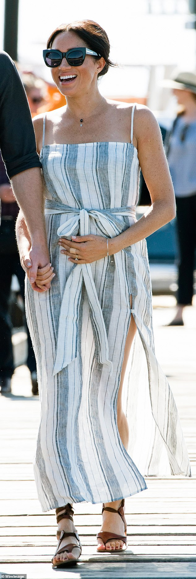 VERY FASHIONABLE FRIEND OF THE EARTH: Meghan's 2018 tour of Australia, New Zealand and Fiji was peppered with ethical fashion choices. Take her casual striped maxi dress for a stroll around Australia's Fraser Island. It cost £166 from U.S. brand Reformation, which prides itself on using sustainable materials rescued from unsold fabrics and repurposed vintage clothing. Then, in New Zealand, Meghan went for a custom dress from a native designer with oodles of ethical credentials thrown in. She wowed fans in her white tuxedo dress from Kiwi brand Maggie Marilyn, which uses organic cottons, ethically produced silks and recycled metals that are not harmful to the environment.