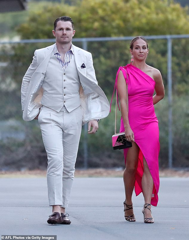 Patrick Dangerfield, pictured with wife Mardi went for a unique look at this year's Brownlows