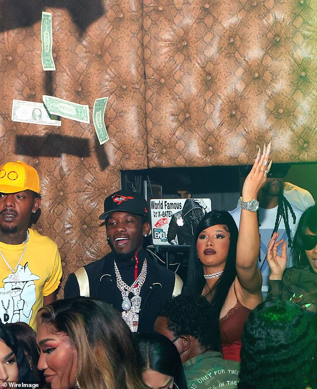 Give it a break: Cardi also told the trolls to lay off Offset, who also received online harassment; Cardi and Offset partying in Atlanta on October 12