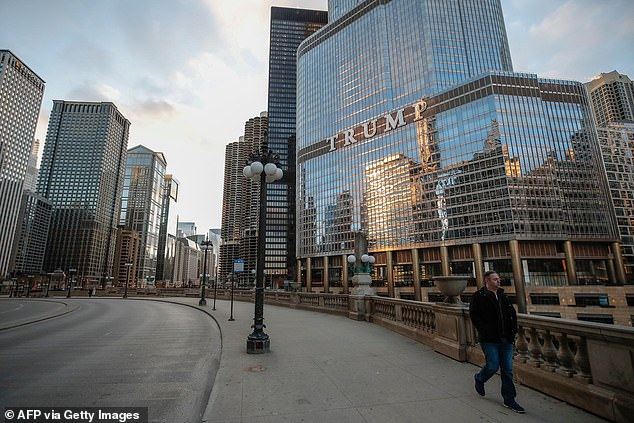 A view of Trump Tower in downtown Chicago pictured above