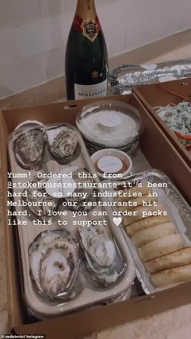 Too busy living it up! While footy fans spent Sunday night roasting Nadia on Twitter, the mother-of-two was busy on Instagram documenting her expensive home-delivered seafood dinner, which consisted of oysters, lobster and Champagne