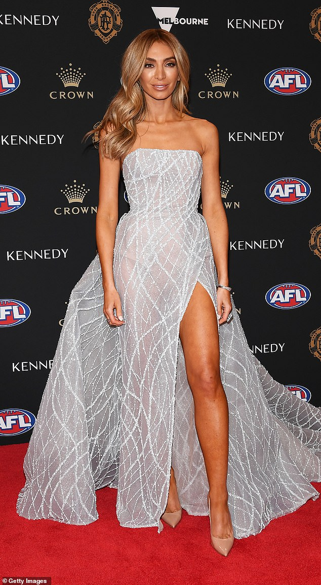 'Strong and brave': Nadia Bartel , 35, was brutally trolled by AFL fans on Twitter for 'courageously' missing the Brownlow Medal red carpet on Sunday night. Pictured: Nadia attending the 2019 Brownlow Medal