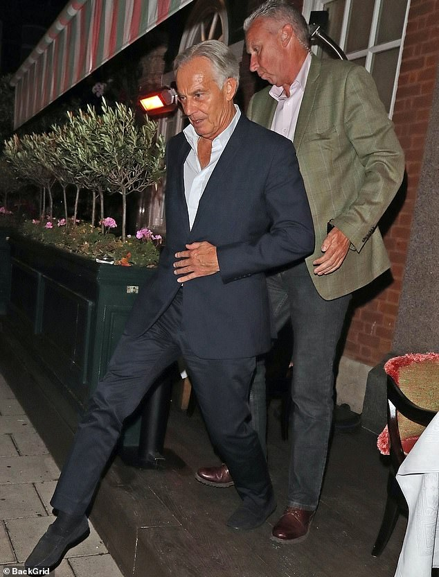 Mr Blair was pictured at Harry's Bar in London's Mayfair less than two weeks after returning from his two-day trip