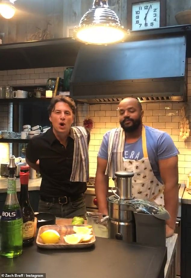 Men of their word: Braff and Faison, foScrubs from 2001-2010, kept their word and gave instructions of how to make the perfect appletini in an Instagram livestream on Oct. 6