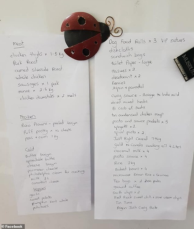 Previously, a mother-of-one from western Australia has revealed how she feeds her family-of-three and 'frequent weekend guests' for just $50 per week (her shopping list pictured)