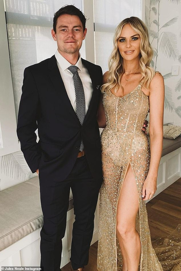 Brutal beginning: Brownlow Medal winner Lachie Neale (left) has reveals how his wife, Julie (right), rejected him when they first met - only for them to fall in love six years later