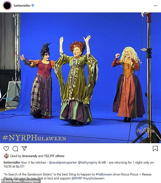 Hocus Pocus: Midler shared a photo of herself, Najimy and Parker back in costume as Sanderson sisters on Sunday to promote a charitable fundraiser