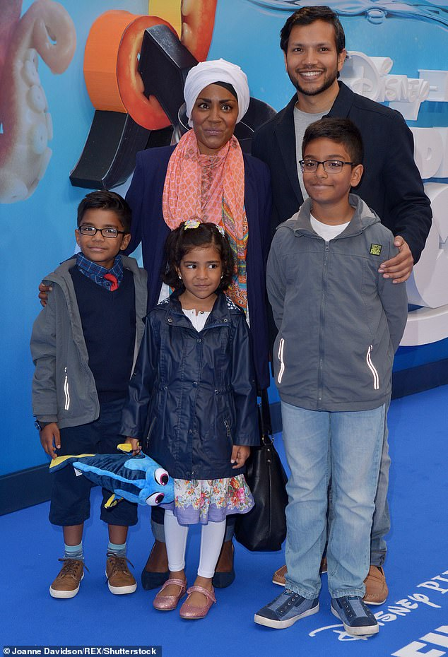 No more:Meanwhile, Nadiya claimed that she doesn't have any plans to add to her brood, despite her son's wishes, but joked she'd happily add more pets to the family (pictured in 2016)