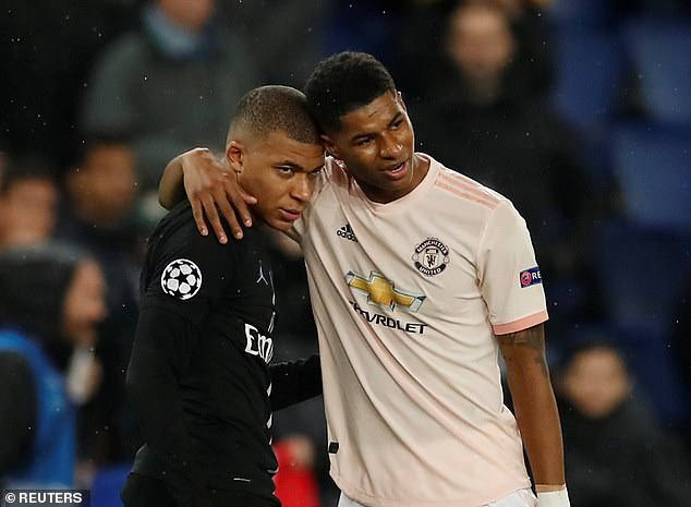 Kylian Mbappe (left) says Marcus Rashford (right) is one of the most dangerous English players