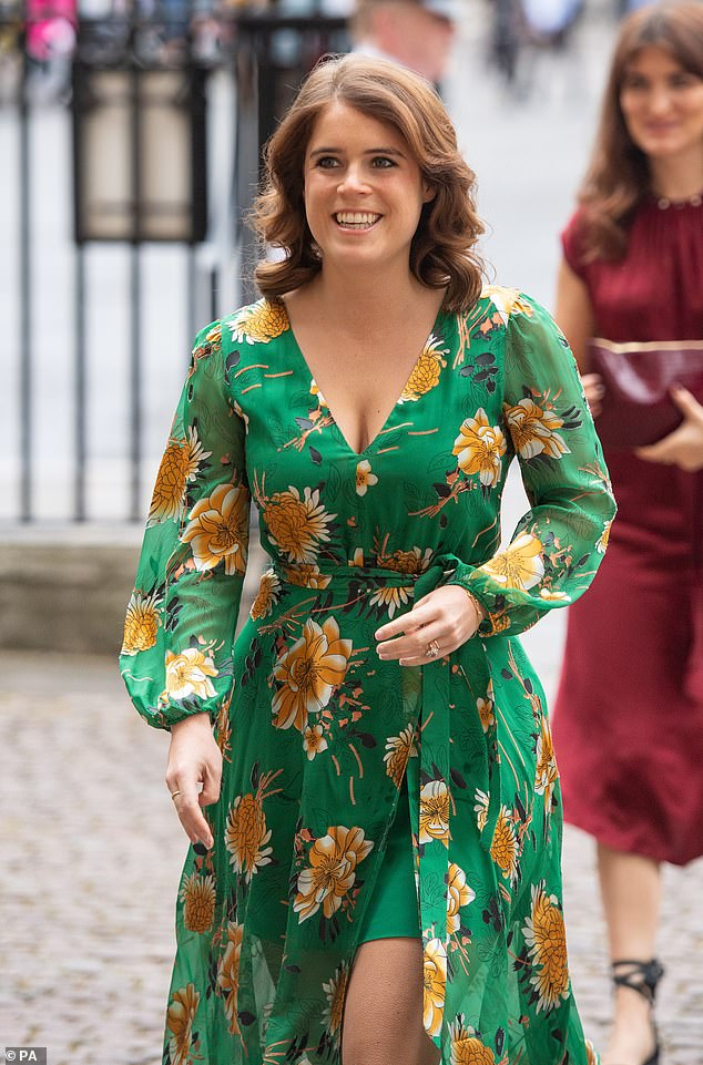 Princess Eugenie underwent surgery on her spine at the age of 12 so titanium could be added to repair the curvature which scoliosis had caused. Pictured, at a royal engagement in March