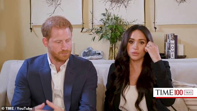 The Duke and Duchess of Sussex, pictured hosting a special edition of TIME100 Talks, have rearranged their book collection three times over the last month, to feature in each of their online appearances. Today they positioned their books vertically for maximum impact while they interviewed a series of guests around the topic of 'Engineering a Better World'