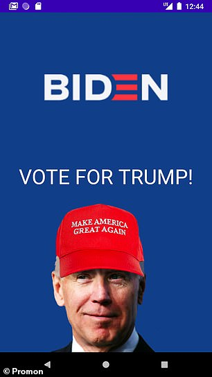 Norwegian app security firm Promon used a well-known vulnerability in the Android operating system to add fakes screens to the two candidate's election apps. While their additions were comical ¿ showing Mr Biden in a 'MAGA' cap (pictured) and making Mr Trump's app fundraise for his opponent ¿ the exploit may be used maliciously. For example, hackers can easily force vulnerable to prompt users into handing over sensitive information ¿ such as usernames, passwords or even credit card details
