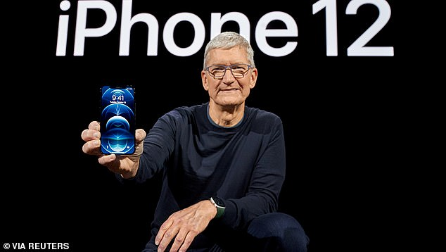 Apple announced the upgrade during a live event on October 13, which it said will allow data flow at much faster speeds. CEO Tim Cook (pictured) discussed the benefits of having 5G, sharing everything to video streaming to more privacy
