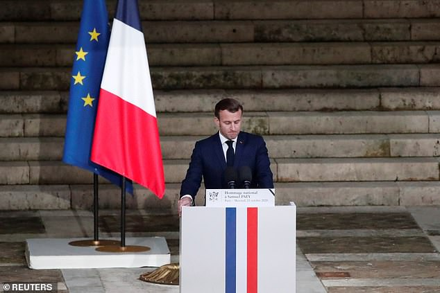 Macron delivered his speech in front of the coffin of slain teacher Samuel Paty during a national memorial event in Paris, France, yesterday