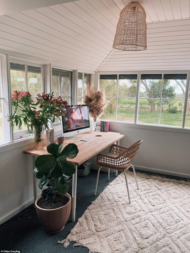 OFFICE AFTER: The area now has a brighter and lighter feeling to it with pine furniture and white accents