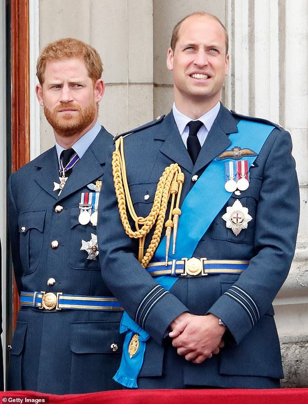 Prince William and Prince Harry (pictured together in 2018) are also included on the guest list, but it is believed Meghan and Kate are more likely to attend than their 'feuding' husbands