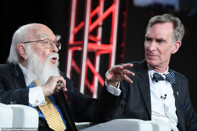 Randi is seen with Bill Nye during a discussion about An Honest Liar at the PBS Winter TCA in January 2016 in Pasadena, California