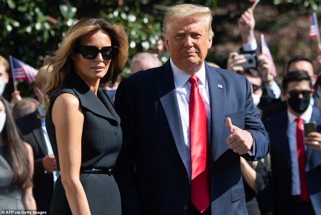 Trump left the White House with first lady Melania Trump shortly after midday for the flight to Nashville, TN, for the debate. It was the first time she has been seen since being diagnosed with coroanvirus after the first debate