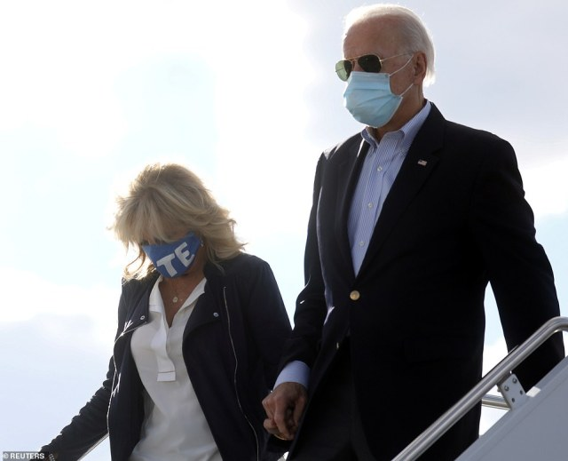 Jill Biden (left) and Joe Biden (right) arrive in Nashville, Tennessee before Thursday night's presidential debate