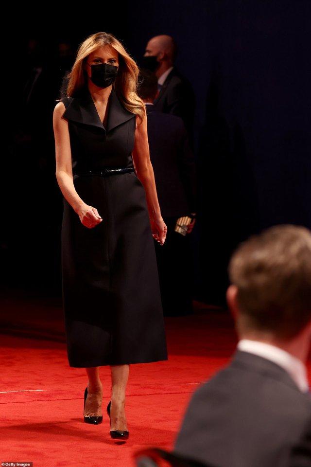 First Lady Melania Trump arrives at the final presidential between U.S. President Donald Trump and Democratic presidential nominee Joe Biden