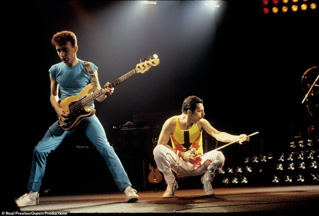 Queen bassist, John Deacon rocks out on stage next to Freddie Mercury during The Hot Space Tour in 1982. Preston said Queen shows were visually 'a feast beyond words. There was never a bad angle or camera position.' He said each tour after 1977 got 'bigger and bigger,' the productions were more ornate with larger lighting rigs, stage settings, and pyrotechnics. 'For me it was like being a kid in the ultimate candy store'