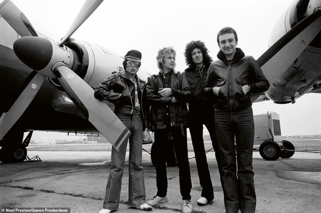 Veteran rock photographer, Neal Preston first photographed Queen in 1976 when they were playing a gig at the Santa Monica Civic Auditorium. One year later, he was asked to go on tour with the British band and subsequently spent 10 snapping pictures of them until their last tour in 1986. Above, Queen and their Britannia 4-jet, USA, 1978