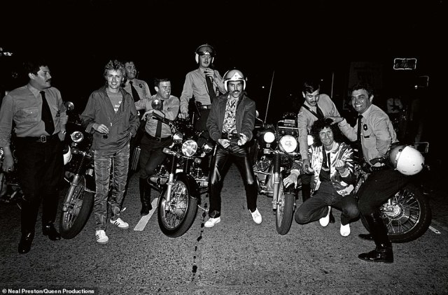 Queen and their police escort for their 1981 tour in South America. 'It was difficult logistically but this tour was a photographer¿s dream. From the moment we landed the band was treated like the Beatles. Better than the Beatles. The fans were rabid'