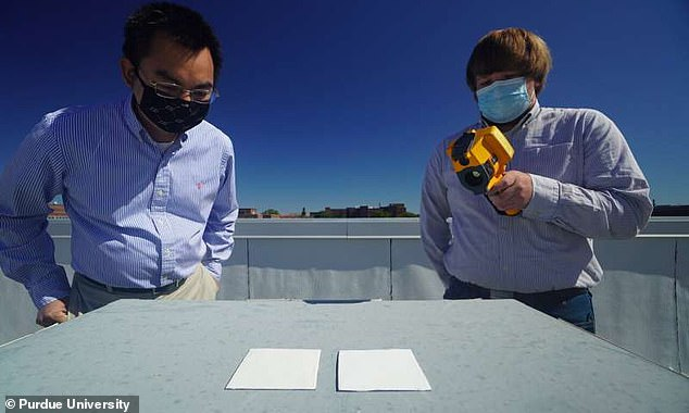 The new acrylic could be used to keep buildings cool naturally. 'This paint may even be used to combat climate change since it rejects sunlight and radiates heat into space,' says Xiulin Ruan (left), professor at Purdue's School of Mechanical Engineering