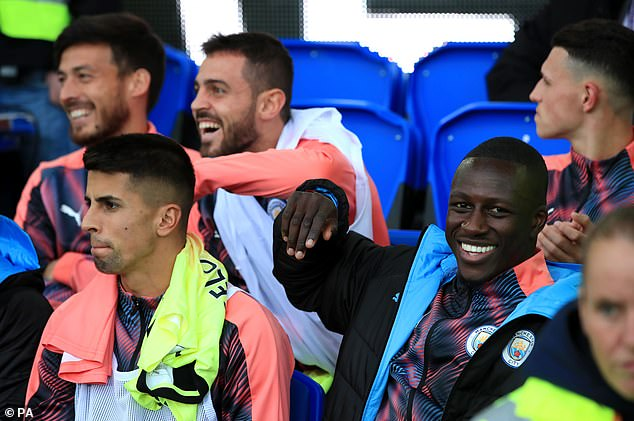 Guardiola says people are quick to judge like they were with Bernardo Silva (top, center) and Benjamin Mendy (bottom right), and a joke they shared together on social media