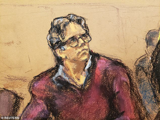 Keith Raniere, 60, is due to be sentenced on Tuesday in Brooklyn federal court after he was convicted on sex trafficking and racketeering charges. He is pictured above in a court sketch from last year
