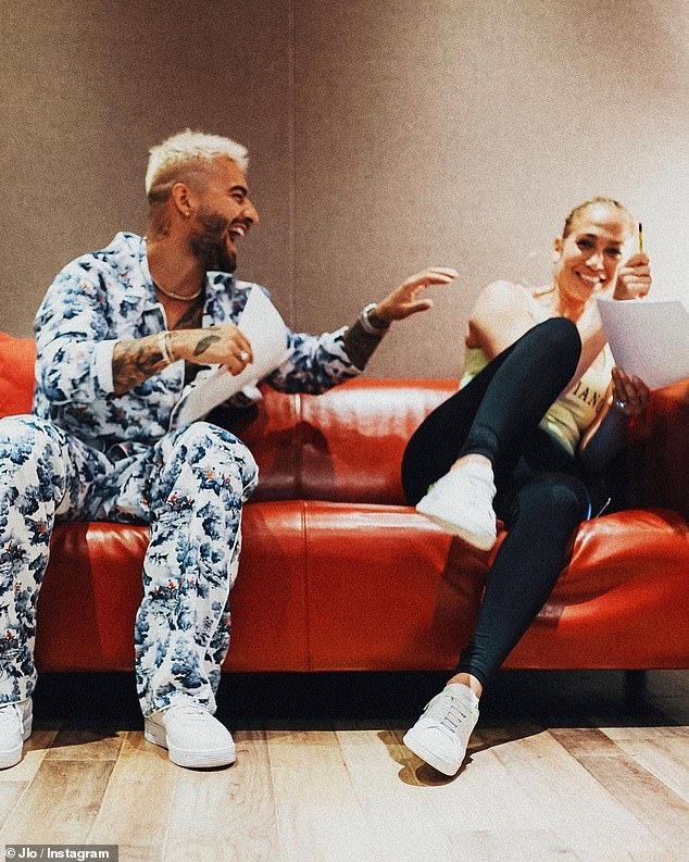 Co-stars: Jennifer and Maluma also took a moment to promote their upcoming romantic comedy film Marry Me, which is set to hit theaters on Valentine's Day 2021;  Maluma and Jennifer pictured in July