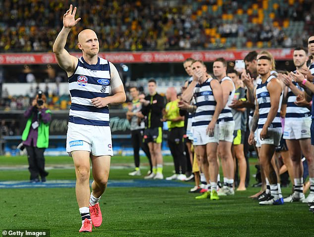 The 36-year-old had tears in his eyes as he said goodbye to the crowd on Saturday, closing the door to his AFL career in 357 games