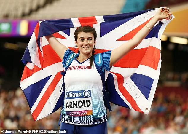 Ready to compete?  Paralympian Hollie Arnold, 26, was also seen stopping at the London site for filming ahead of isolation for the show
