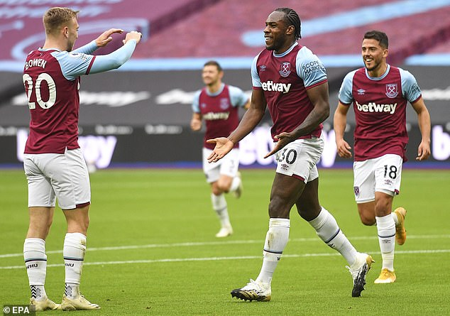 Mikhail Antonio (right) impressed and showed that West Ham wasted money on other strikers