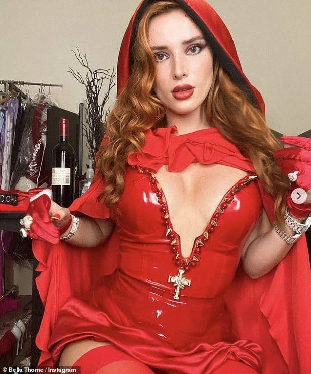 Wow: 24-year-old Bella Thorne shared a series of scenes inspired by Little Red Riding Hood on Instagram on Sunday.