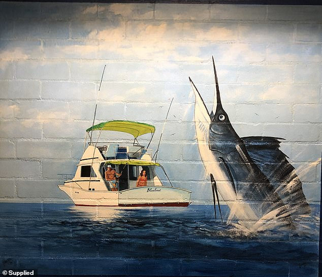 While Corrective Services NSW does not know what will happen to the abandoned Grafton prison, it has declared Lawson's murals will be preserved along with other heritage items at the site. This Lawson painting features a marlin and a couple fishing from a boat called Bluebird