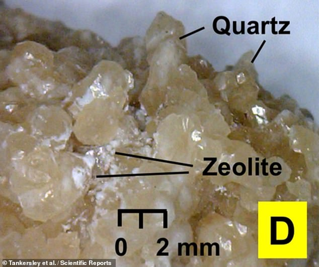 The Corriental reservoir site — once a key source of water for the ancient Maya — contained crystalline quartz in coarse sand and zeolite (pictured) imported from 18 miles north-east of the city. Quartz and zeolite, a compound containing silicon and aluminium, together serve to create a molecular sieve — and are both still used today in modern filtration systems