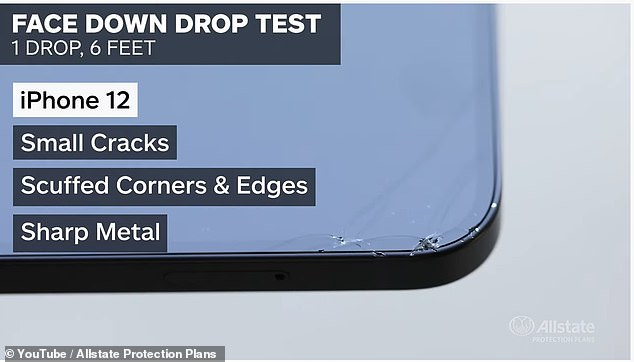 The iPhone 12 landed face-down for the first test, which caused a few small cracks and scuffed the edges