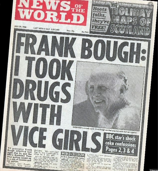 The story that revealed her secret life: The front page of News of the World, which in 1988 revealed lingerie-clad Bough's participation in a series of parties featuring cocaine and prostitutes