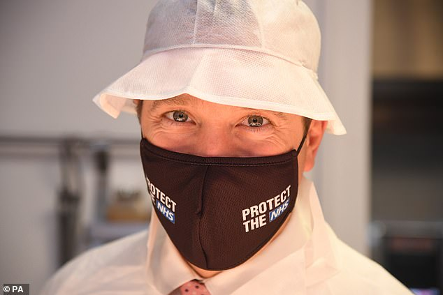 The findings of the study could help 'maximise public compliance with safety protocols during the Covid-19 pandemic' for politicians and health officials. Pictured, Matt Hancock wears a mask on a visit to a hospital