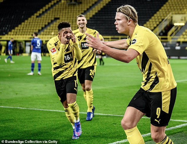 United though remain interested in signing Sancho as well as his Dortmund team-mate Erling Haaland (right) in a move which could see the club spend £176million