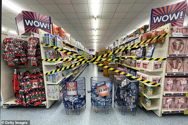 Blocked aisles at a B&M store on October 27, 2020 in Cardiff, Wales