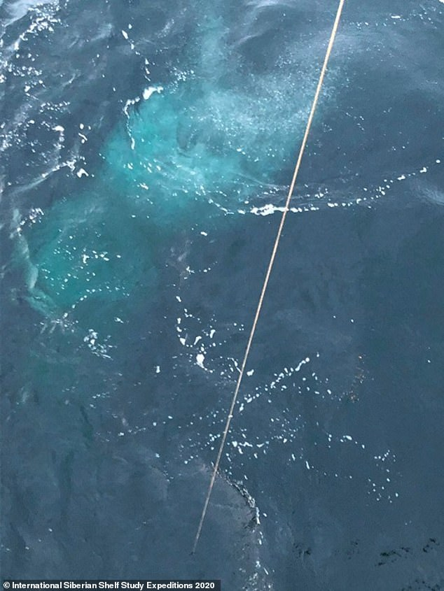 A research team on a boat in the ocean has spotted bubbles of the potent gas, which has a warming effect 80 times greater than carbon dioxide over 20 years, being released (pictured)
