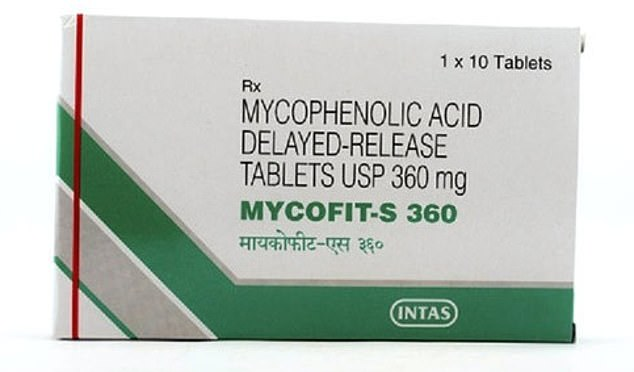 MPA (pictured), also known as mycophenolate mofetil and CellCept, prevented coronavirus infection and is used as an immunosuppressive drug to prevent organ rejection after transplantation and for the treatment of autoimmune diseases, such as Chron's