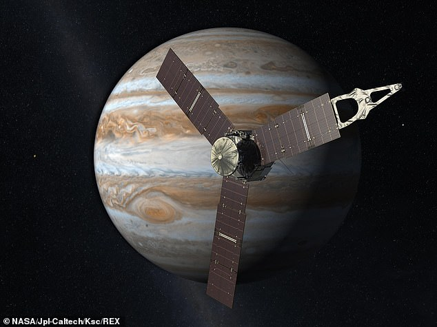 A rotating, solar-powered spacecraft, Juno arrived at Jupiter in 2016 after making a five-year journey (depicted here in artist's impression)